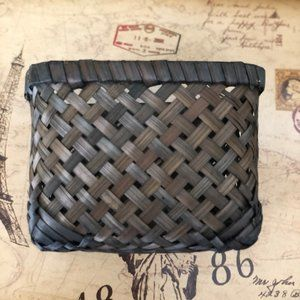Vintage Accents - Dark Stained Small Boho Mini Square Woven Basket